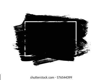 Universal black grunge design element, box, frame for text. Hand drawn brush strokes.