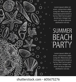 Universal card template with nautical theme - sea shells, starfish, seastar, mollusk silhouettes. Design concept for  beach party, save the date invitations or others. Colors of silver