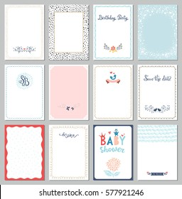 Universal cards templates. Use for invitations, greeting cards, posters, brochures and flyers. Vector illustration.