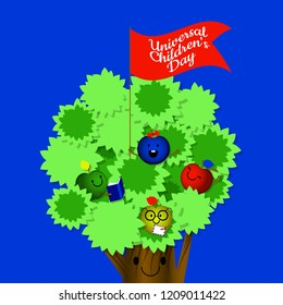 Universal Childrens Day. Concept of a social holiday. Kids apples, mom is an apple tree. Cartoon style