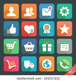 Universal Flat icon set for Web and Mobile App. Profile, Favorites, Shopping, Service.