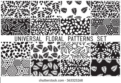 Universal floral seamless patterns set. Endless vector texture can be used for wrappingwallpaper, pattern fills, web page background,surface textures. Monochrome different vegetal ornaments