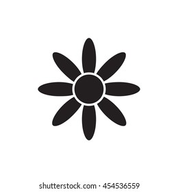 Universal Flower icon to use in web and mobile UI, ecology basic UI element. Silhouette flower icon.  Chamomile icon.