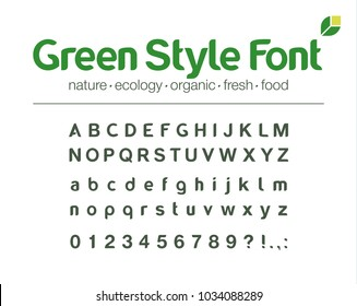 Universal font. Organic nature style alphabet. Medicine business logo design. Modern vector typeface with letters, numbers