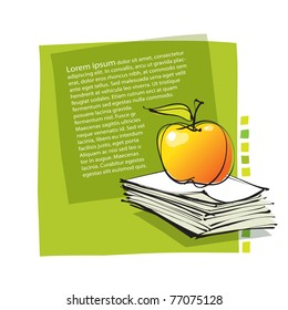 universal fresh page layout with apple icon, freehand drawing (vector)