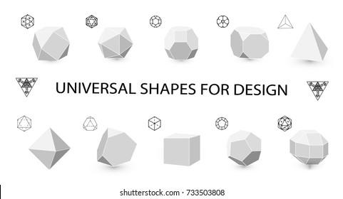 Universal geometric shapes for design.Octahedron, tetrahedron strengthened octahedron . Hipster Fashion minimalist design. Film solid bodies. octahedron flat design vector illustration, fine art line