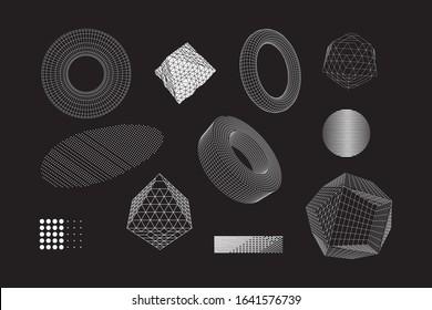 Universal Geometric Shapes Set. Design Forms on Black Background for Web Print Presentation Animation Poster