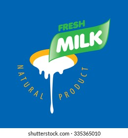 Universal graphic vector logo for natural dairy products