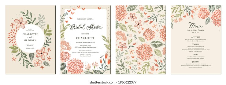 Universal hand drawn floral templates in warm colors perfect for an autumn or summer wedding and birthday invitations, menu and baby shower. Vector illustration.