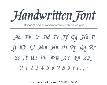 Universal handwritten italic font. Hand drawn alphabet written with brush pen. Retro style classic calligraphy script. Vintage business logo design. Modern vector typeface with letters, numbers