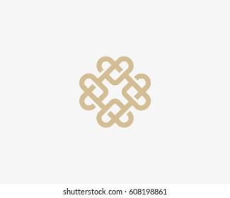 Universal heart ornament logotype. Abstract line creative logo icon design.
