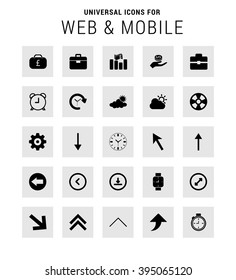 Universal Icon Set. 25 universal icons for website and app. Isolated Elements. flat, solid, mono, monochrome, plain, contemporary style. Vector illustration
