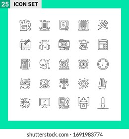 Universal Icon Symbols Group of 25 Modern Lines of marker; online; certificate; computer; diploma Editable Vector Design Elements