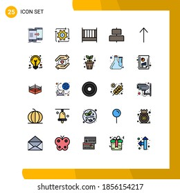 Universal Icon Symbols Group of 25 Modern Filled line Flat Colors of arrow; center; flow; align; furniture Editable Vector Design Elements