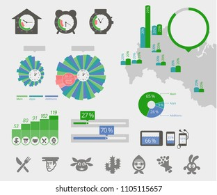 Universal infographics. Clock map, circle diagrams. Elements of the interface. Icons of entertainment. Vector illustration flat stock