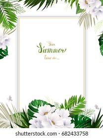 Universal invitation or congratulation card with green tropical palm, monstera leaves and magnolia blooming flowers on the white background. Holiday banner with place for message on the summer poster.