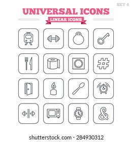 Universal linear icons set. Fitness dumbbell, home key and candle. Toilet paper, knife and fork. Microwave oven. Thin outline signs. Flat square vector