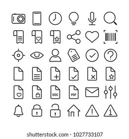 Universal linear icons set for mobile and web apps on a white background