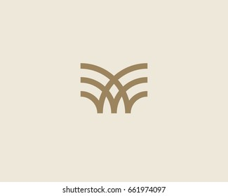 Universal linear logo design. Creative bull horns mark. Luxury letter w wings bird logotype.