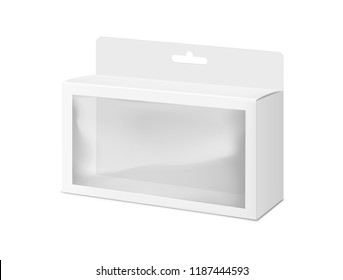 Universal mockup of blank cardboard box with transparent window. Vector illustration isolated on white background, ready and simple to use for your design. EPS10.