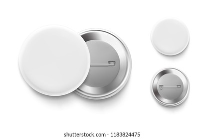 Universal mockup of white badge. Vector realistic illustration on white background, ready and simple to use for your design. The mock-up will make the presentation look as realistic as possible.