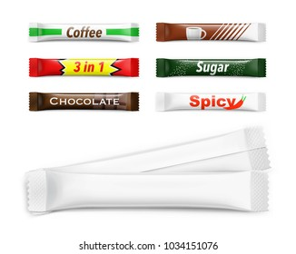 Universal mockups of blank packaging sticks. Vector illustration isolated on white background, ready and simple to use for your design. EPS10