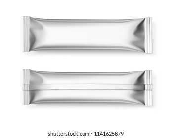 Universal mockups of blank packaging sticks. Front and back view. Vector illustration isolated on white background, ready and simple to use for your design. EPS 10.