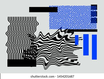 Universal Modern Geometric Shapes Set. Chaotic Glitch Art composition with Vector abstract design elements for web banner, posters, backgrounds. Vaporwave/ cyberpunk retrofuturistic style.
