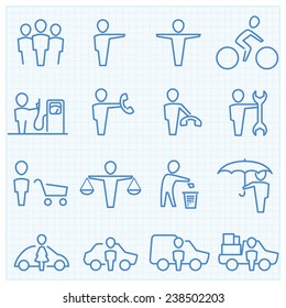 Universal People GUI vector icons set
