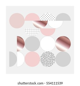Universal print for wall decor, poster. Shades of blush and pink gold.  Contemporary Art, Minimalist. Geometric, aesthetic. Colored circles and semicircles of pink, grey, copper. Vector EPS 10