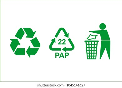 The universal recycling symbol. International symbol used on packaging to remind people to dispose of it in a bin instead of littering. Green icons isolated on white background. Vector illustration.