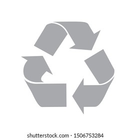 The universal recycling symbol. International symbol used on packaging to remind people to dispose of it in a bin instead of littering.