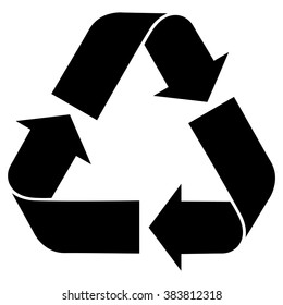 Universal recycling symbol , isolated black icon , accurate vector illustration