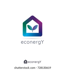 universal reversible energy logo concept for business, apps, technology, building. home house eco symbol vector illustration.