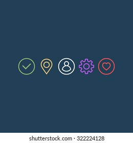 Universal signs set for web and app. Vector illustration
