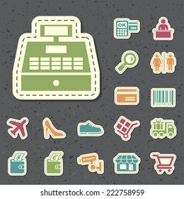 Universal Standard New Color Shopping Icons Paper Cut Style on Black Background 3.