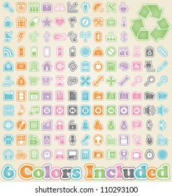 Universal Sticker Icons -It includes 6 color versions for each icon in different layers