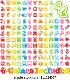 Universal Sticker Icons with shadow -It includes 6 color versions for each icon in different layers