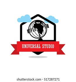 Universal Studio Ribbon banner with clouds. Landmarks vector collection.