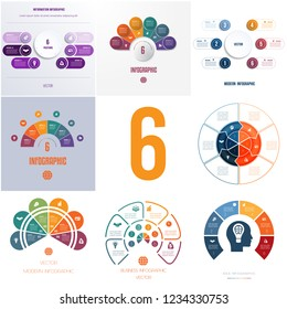 Universal templates elements Infographics conceptual cyclic processes for 6 positions possible to use for workflow, banner, diagram, web designs.