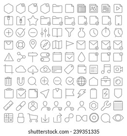 Universal thin line interface icons set