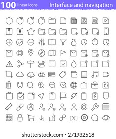 Universal thin line interface icons set for application interface and web navigation