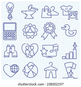 Universal thin line vector outlined icons mix