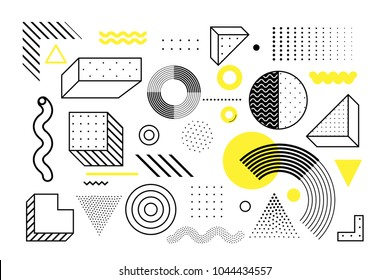 Universal trend halftone geometric shapes set juxtaposed with bright bold yellow elements composition. Design elements for Magazine, leaflet, billboard, sale