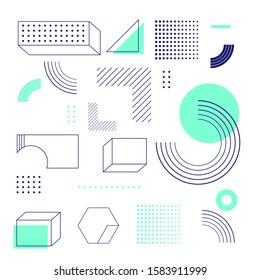 Universal trend halftone geometric shapes set juxtaposed with bright bold Aqua Menthe color elements composition. Design elements for Magazine, leaflet, billboard, sale, flyer, brochure - vector