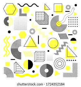Universal trend halftone geometric shapes set juxtaposed with bright light yellow elements composition. Design yhis elements perfect for Magazine, leaflet, billboard, sale