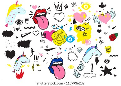 Universal trend hand drawing doodles Mega set. Trendy shapes juxtaposed with bright bold Yellow Blue Black Pink elements composition. Design for Magazine Leaflet Billboard Sale Advertisement Stickers