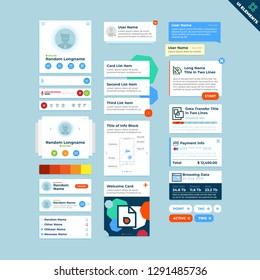 Universal UI Kit for designing responsive websites, mobile apps & user interface. Dark blue background