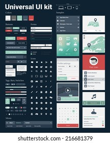 Universal UI Kit for designing responsive websites, mobile apps & user interface. Dark blue background.