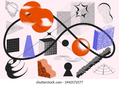 Universal vector geometric shapes composition with nice texture. Bright bold Design objects, elements for Magazine, leaflet, sale poster concepts, brochure, branding and more.